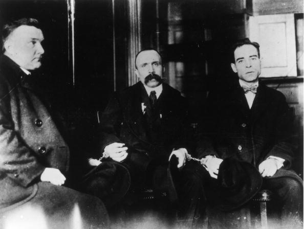 Ferdinando Nicola Sacco and Bartolomeo Vanzetti in handcuffs, circa 1920s. (Photo by Fotosearch/Getty Images).